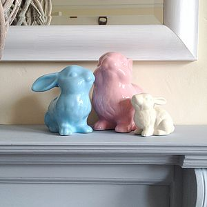 Ceramic Bunny Rabbit Decoration - sculptures