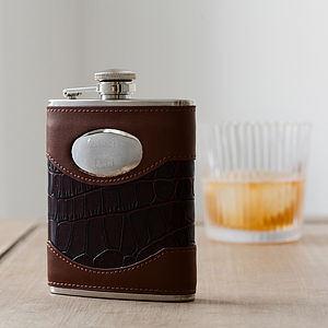 Engraved Brown Leather Hip Flask