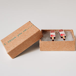 Fab Lolly, I Think You're Fab Ice Lolly Earrings Wooden - earrings