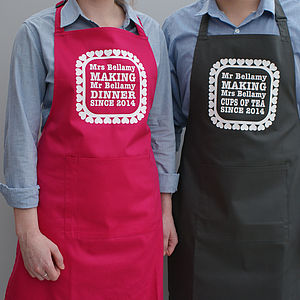 Personalised Mr And Mrs Love Heart Aprons - kitchen linen