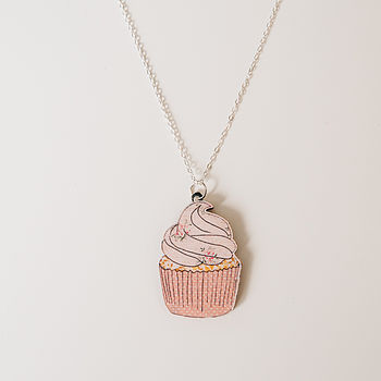 Cupcake Wooden Necklace
