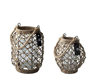 Jute Weave Hurricane Lantern - lighting