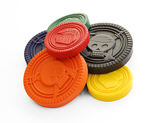 Set Of Six Pirate Coin Crayons