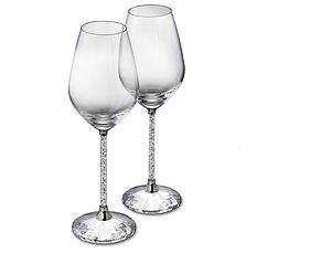 Pair Of Diamante Filled Stem Wine Glasses - shop by price