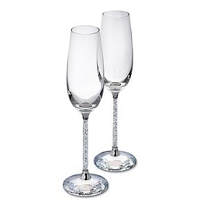 Pair Of Diamante Filled Stem Champagne Flutes - kitchen