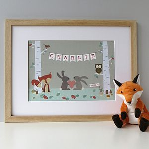 Personalised Woodland Animal Print - children's room
