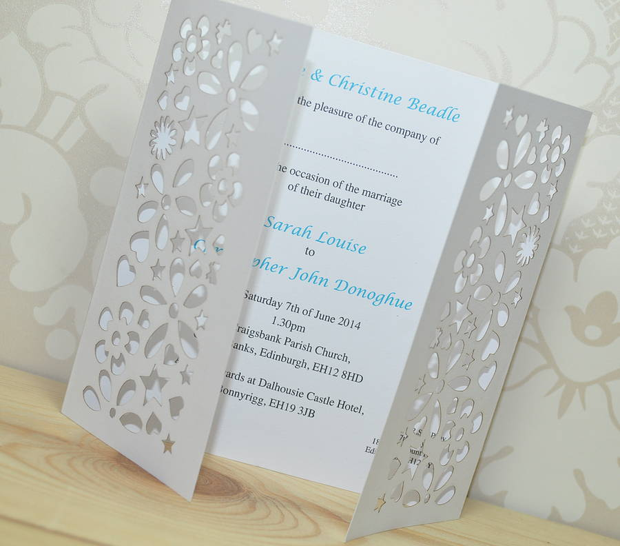 Flower Laser Cut Gatefold Wedding Invitation