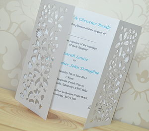 Flower Laser Cut Gatefold Wedding Invitation - wedding stationery