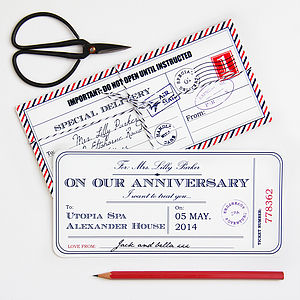 Personalised Anniversary Travel Ticket - anniversary cards