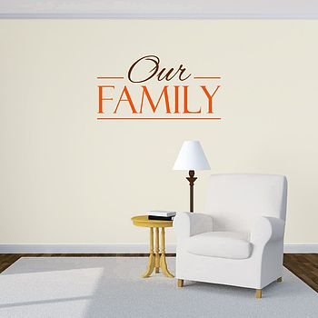 Our Family Multi Coloured Wall Sticker - Brown and Orange