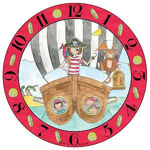 Personalised Pirate Melamine Clock - children's clocks