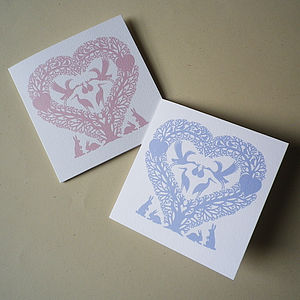 New Baby Stork Heart Card
