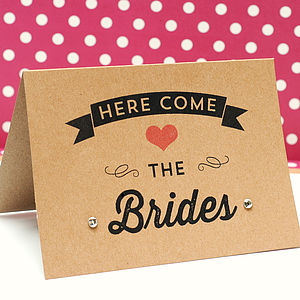 'Here Come The Brides' Wedding Card - engagement cards