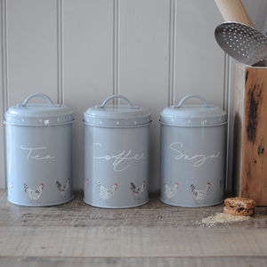 Set Of Three Chicken Storage Tins