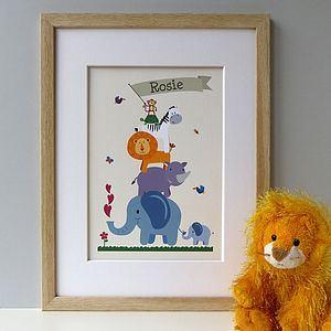 Personalised Children's Animal Nursery Print - baby & child