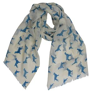 Spaniel Blue Cashmere Scarf - scarves