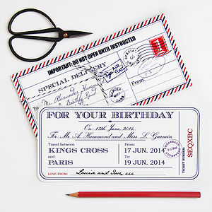 Personalised Birthday Travel Ticket - birthday cards