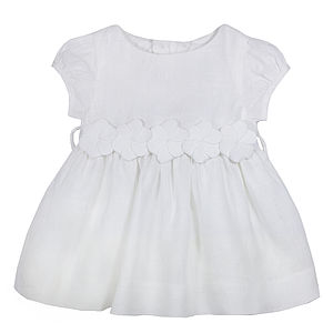 Baby Girl Linen Christening Dress - christening wear