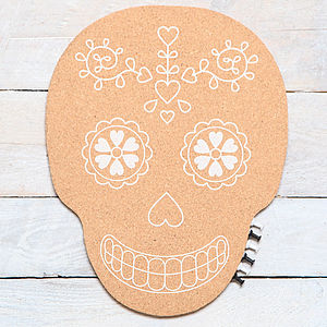 Skull Cork Pin Board - kitchen accessories