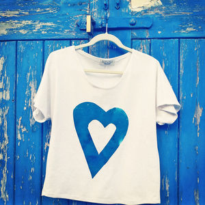 Turquoise Hand Printed Heart Tee - tops & t-shirts