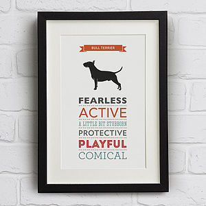 Bull Terrier Dog Breed Traits Print