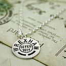 Personalised Location And Date Necklace