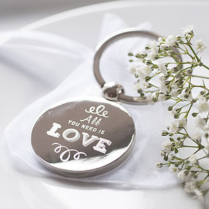 Set Of 20 'All You Need Is Love' Key Rings - wedding favours