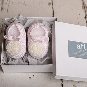 Hand Crochet Pink Baby Mary Jane Shoes - christening wear
