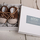 Hand Crochet Leather Laced Baby Shoes