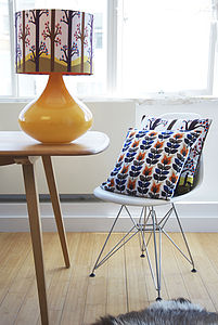 Orange Tulips Retro Designer Cushion+ Waterproof