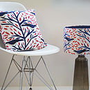 Coral And Blue Birds Designer Cushion + Waterproof