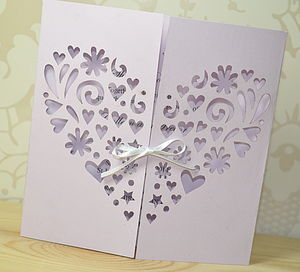 Heart Laser Cut Gatefold Wedding Invitation - wedding stationery