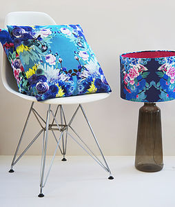 Turquoise Digital Floral Waterproof Velvet Cushion - furniture