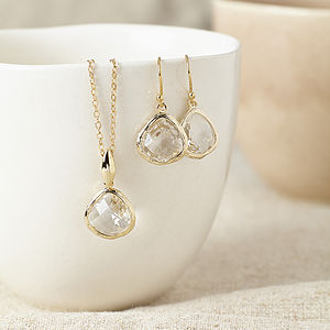 Gold Crystal Gemstone Set - wedding fashion