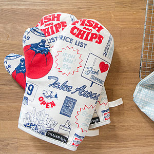 'Fish And Chips' Oven Mitt - oven gloves & mitts