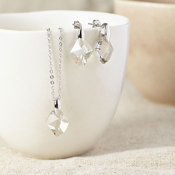 Silver Drop Gift Set Made With Swarovski Crystals