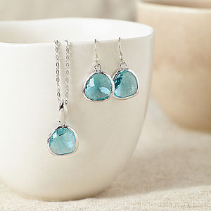 Silver Turquoise Gemstone Set - necklaces & pendants