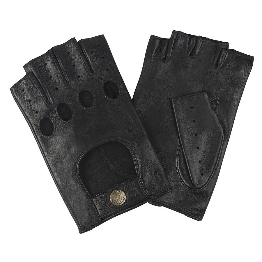 stirling. men's fingerless leather driving gloves by ...