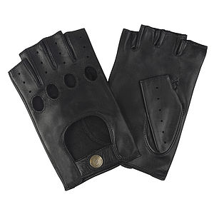 Stirling. Men's Fingerless Leather Driving Gloves