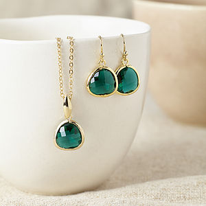 Gold Emerald Gemstone Set - jewellery sets