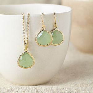 Gold Fluorite Gemstone Set - earrings