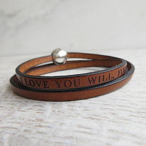 Personalised Leather Wrap Bracelet - for fathers