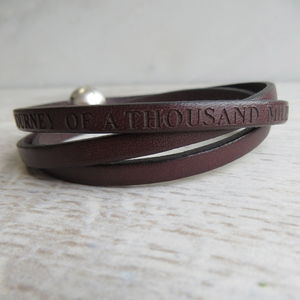 Personalised Leather Wrap Bracelet - 3rd anniversary: leather