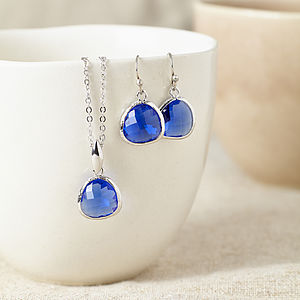 Silver Sapphire Gemstone Set - jewellery sets