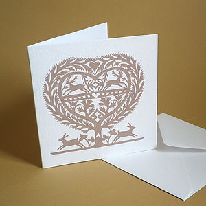 March Hares Heart Card - valentine's cards