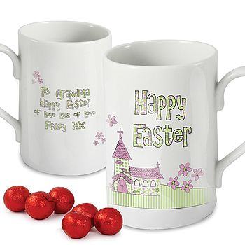 Personalised Easter Church Mug And Chocolates