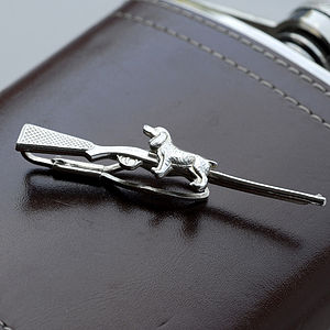 Gun And Spaniel Silver Tie Slide - men's accessories