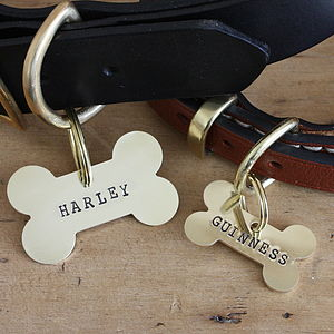Brass Bone Dog Name Tag - dogs
