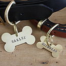 Brass Bone Dog Name Tag, Hand Made