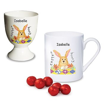 Personalised Easter Bunny Egg Cup And Mug Set